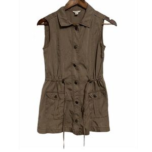 CATO | Brown Button-Up Collared Utility Vest, XS